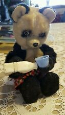 """VINTAGE ♡  WIND UP TOY ♡ BEAR DRINKING MILK ♡ 9 """" TALL ♡  WORKS GREAT"""