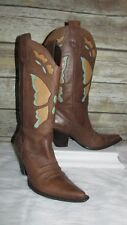 Nine West Realize Brown Leather Butterfly Sz 6.5M Western Cowboy Mid Calf Boots