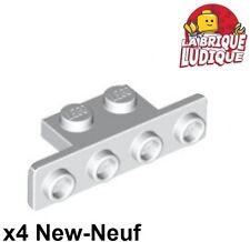 Lego - 4x Bracket 1x2 - 1x4 rounded courners blanc/white 2436b NEUF