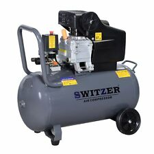 SwitZer Air Compressor 50L Litre 2.5HP 8 BAR 230V 9.6CFM With Wheel AC001 Grey