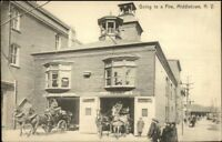 Middletown NY Fire Station GOING TO A FIRE c1910 Postcard
