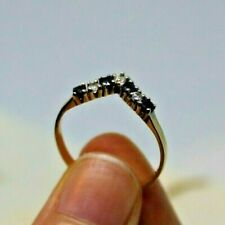 9ct / 375 Yellow Gold Sapphire & Clear Stone Wishbone Ring, Size N, VGC.