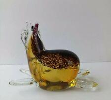 Hand Blown Amber Clear Art Glass Walrus Sea Lion Figurine Statue Paperweight