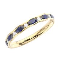 0.60Ct Round Cut Diamond & Blue Sapphire Half Eternity Ring In 9K Yellow Gold