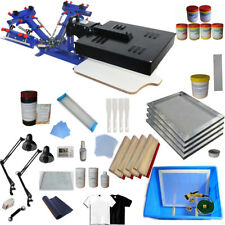 3 Color Screen Printing Press Kit Adjustable Press Printer with UV Exposure Unit