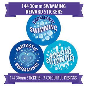 Amazing Swimming Rewards - 144 30mm Stickers - 3 Designs - Rewards, Praise