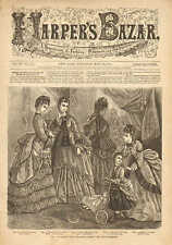 Ladies & Children's Street & House Dresses, Baby Buggy, Doll, 1873 Antique Print