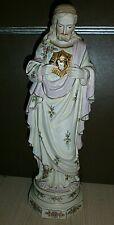 ANCIENNE STATUE RELIGIEUSE/JESUS SACRE COEUR/BISCUIT ANDENNE/debut XXé/H.36,5cm