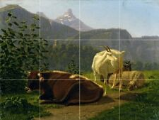Animals Before Mountain Landscape Tile Mural Kitchen Wall Backsplash Art 24x18