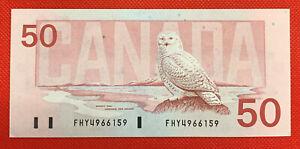Bank of Canada 1988 $50 Fifty Dollars Knight-Dodge FHY Prefix EF/AU Snowy Owl