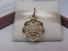 New w/hinged BOX Pandora Golden Lace Gold 14K 585 & .09 ct Diamond Charm 350175D