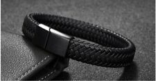 Mens man boys Leather Braided Wristbands Bracelet Stainless Steel Magnetic Clasp