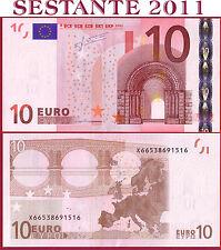 """(com) EUROPEAN UNION GERMANY 10 EURO 2002 Sign TRICHET  """"X""""  E004G3 - P 9x - UNC"""