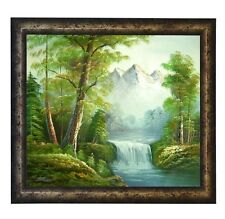 FRAMED, LANDSCAPE OIL PAINTING WATERFALL IN THICK FOREST AT TWILIGHT NATURALISM