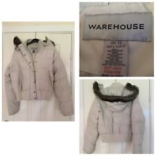 Warehouse Ivory White Bomber Winter Jacket Faux Fur Hooded  Women Size 12 (A393)