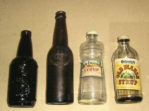 Lot 4 Vintage Bottles,New England Syrup,Oelerich & Berry Old Manse Syrup +2 More