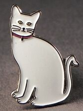 Metal Enamel Pin Badge Brooch Cat White Feline Kitten Kitty White