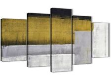 5 Piece Mustard Yellow Grey Painting Abstract Dining Room Canvas - 5425 - 160cm