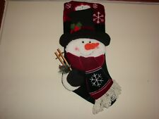 """NEW 18"""" Traditional Christmas SNOWMAN Stocking WITH TOP HAT, lots of detail"""