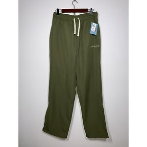 Life Is Good Half Full Men's Ankle Zip Lined Pants Size Large Green NEW