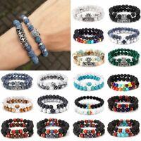 2PCS Men Women Natural Gemstone Beads Lava Rock Stone Bracelets Turquoise Bangle