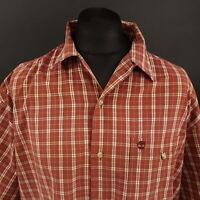 Timberland Mens Vintage Shirt 2XL Short Sleeve Red Regular Fit Check Cotton