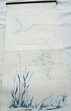 "Tri Chem Wild Duck Canvas Panel Sunset Picture Birds 11x24"" Liquid Embroidery"