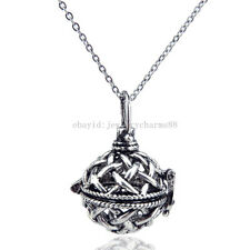 V33 Vintage Round Cross Locket Diffuser Necklace Women Aromatherapy Steel 16""