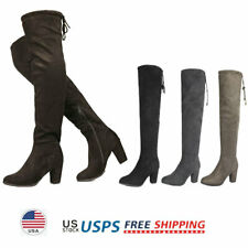 Women's Over The Knee Boots Chunky Boots Lace Up Block Heel Boots