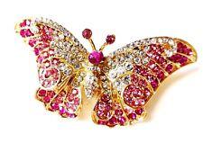 Butterfly brooch gold plate rose pink rhinestone diamante brooch pin