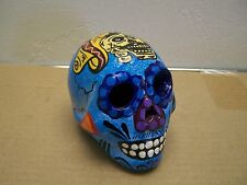 Day of the Dead Painted Skull - Blue with Mexican Cowboy - Mexico