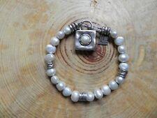 Silpada~B1439 Sterling Silver & Freshwater Pearl Bracelet w hammered Charm 7 1/4