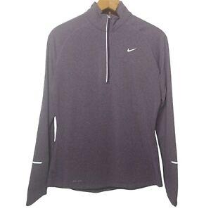 Nike Dri-Fit Women's M Long Sleeve Shirt Athletic 1/4 Zip Purple Sports Active
