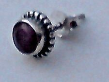 SINGLE STERLING SILVER 8mm.STUD EARRING with RUBY FACETED  STONE  £5.50 NWT