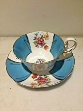 Radfords- Tea Cup & Saucer Blue & White Panel Hand Painted Rose Floral