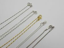 5 Assorted Silver Gold Cable Snake Chain Necklace Lobster Clasp fit DIY Pendants