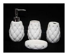 4pc Cerámica Porcelana de diamantes con Estilo De Accesorios De Baño Inodoro de Baño Blanco