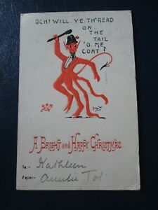 Postcard of Och! Will Ye Th'Read on the Tail 'O, me Coat? (Posted Embossed Xmas)
