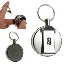 Metal Key Chain Card Badge Holder Steel Recoil Belt Clip Pull Ring Retractable