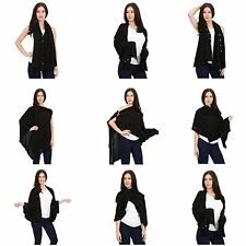 Cashmere Wrap Buttoned Poncho Shawls Cardigan blended yarns 5 In 1
