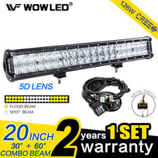 20Inch 126W 5D Lens CREE LED Combo Offroad Driving Light Bar Truck Lamp + Wiring