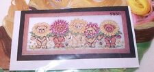 """Design Works  Adorable SUNFLOWER BEARS Counted CS Kit  Hard to Find 9"""" x 22"""""""
