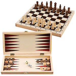 3 in 1 Wooden Board Game Set Compendium Travel Games Chess Draughts Backgammon