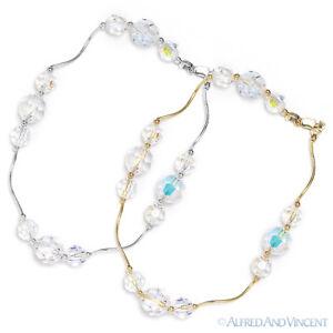 Genuine Swarovski Crystal Element Beaded Bracelet in 14k Yellow or White Gold