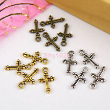 25Pcs Tibetan Silver,Gold,Bronze Tiny Cross Charms Pendants Drops M1126