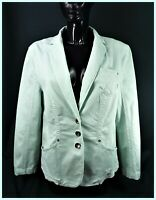 MARC CAIN Long Sleeve Button Front Stretch Pale Green Summermint Blazer Jacket
