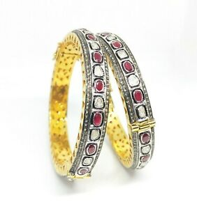 Ruby and Polki Diamond Classy Bangle Jewelry for Womens and Girls
