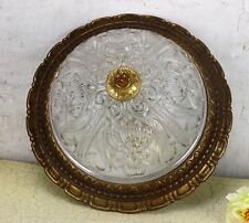 Gorgeous French Ceiling Lamp Fixture Plafonniere Ornate Brass Bubbled Glass