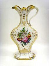 Antique French 19th c Vieux paris porcelain floral pitcher vase