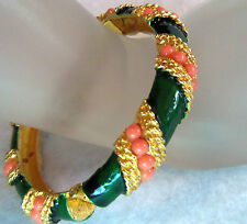 KJL Kenneth J Lane Emerald GREEN ENAMEL GOLD & FAUX CORAL BEAD HINGE BRACELET